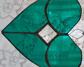 Green stained glass heart