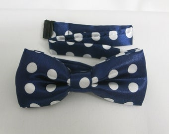 Blue Polka Dot Bow Tie, Boy's Bow tie,Patterened Bow tie, Bow Tie with Adjustable Strap, Boys Bowties, Kids BowTie, Wedding Bow Tie