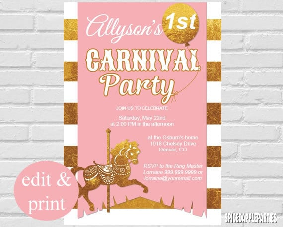 first birthday carnival theme invitation pink gold instant