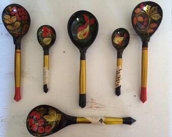 Beautiful Set of Khokhloma Spoons