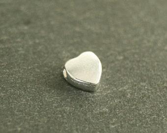 5x Heart Silver Bead 925/-Sterling #3632