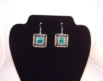 Green Abalone Shell Earrings, Abalone Shell Jewelry, Green Earrings, Square Earrings, Paua Shell Earrings, Green Paua Shell, Dangle Earrings