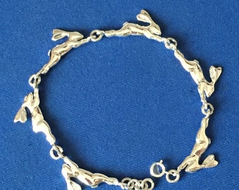 Just Hare running bracelets quality Sterling Silver  .925