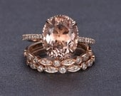 Diamond Rose Gold Morganite Engagement Ring, Rose Gold Morganite Ring, Engagement Ring, Morganite, Oval Morganite Wedding Set, 2 bands