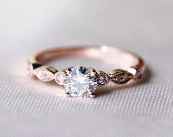 Moissante Engagement Ring, Engagement Ring, Rose Gold Ring, Unique Engagement Ring, 14K Rose Gold