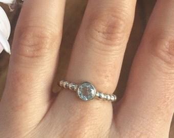 VALENTINES DAY Blue Topaz Ring, Real Blue Topaz Ring, Something Blue Ring, Blue Engagement Ring, Dainty Ring, Bridal Ring, 925 Sterling Ring