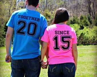 Together Since Shirt Set,Anniversary Shirts,Wedding Shirts,Married Since,Engagement,You Choose Color of Shirts & Color of Print,Plus Sizes