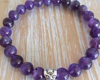 Amethyst gemstone bracelet, 8mm beads, beautiful dark stones