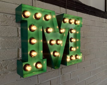 Vintage Light Bulb Letter Wall Light Light-up Letter M Sign - Industrial Marquee lighting  Metal