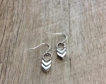 Silver Chevron Dangle Earrings, Silver Earrings, Chevron Earrings, Minimalist Earrings, Rustic Modern Jewelry, Free Shipping U.S.