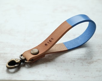 Blue Leather Keychain - Personalized Custom Christmas Gift - Monogram Key Fob Lanyard Strap - Back To School or Graduation Gift -