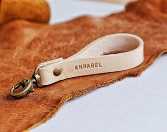 Custom Leather Keychain, Personalize Leather Key fob, Personalized Leather Key Ring, Couple Gift, Gift For Him Her, Handstamp Keychain