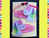 Unicorn Hair Clips Slides Felties Dogs Cats Cupcakes Owls Dinosaur Birds Butterfly Ballet  Gift for girl Birthday Stocking Fillers