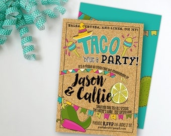 Taco Fiesta Party Invitation, Engagement Anniversary Graduation Birthday, Printable Digital File JPG or PDF, Mexican Fiesta Southwest