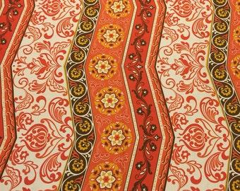 Orange Zig Zag Upholstery Fabric.  Orange Floral Fabric. Retro Upholstry Fabric. Zig Zag Fabric.