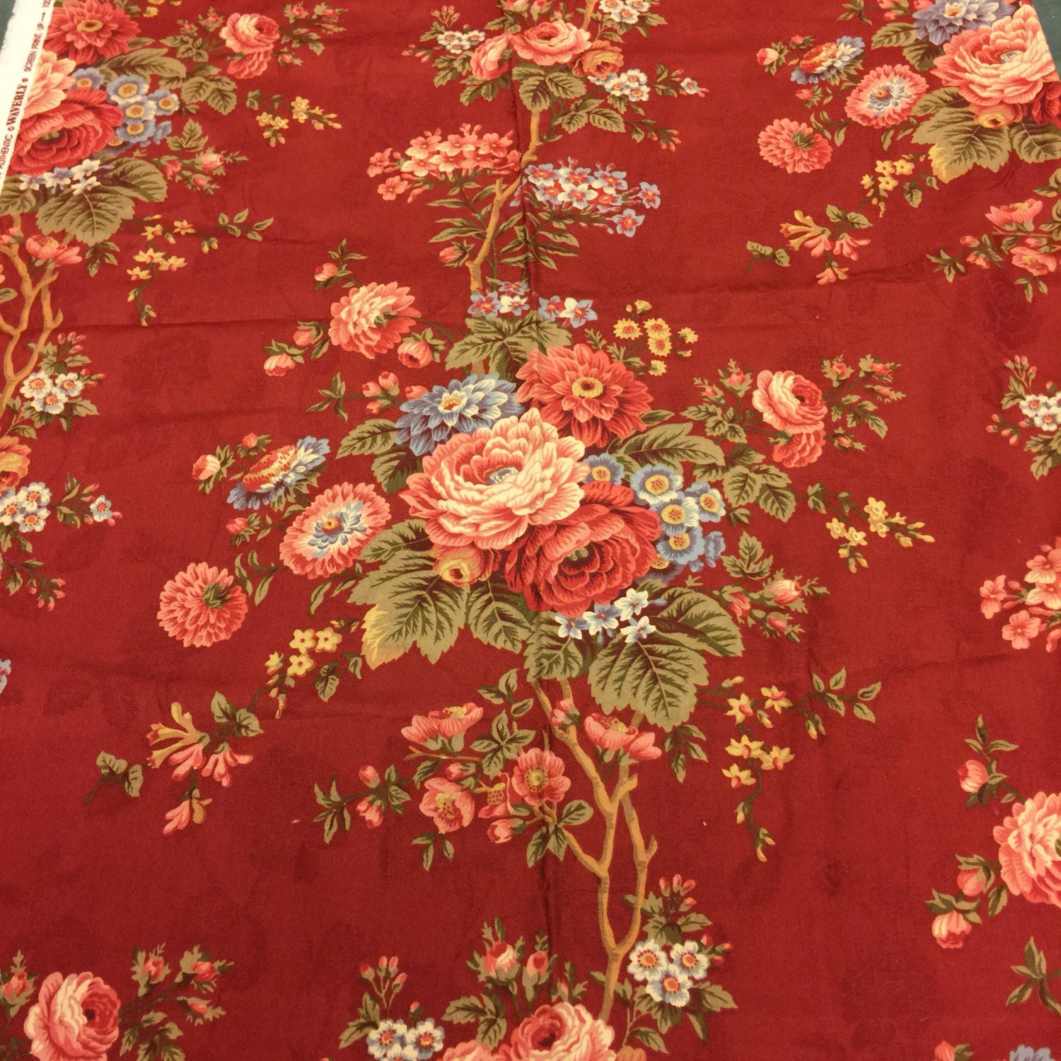 floral fabric upholstery burgundy waverly victorian decor rose shabby chic etsy studio loading basket
