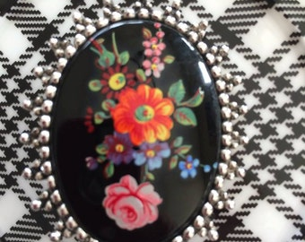 Sarah Coventry Black Ceramic Cameo with Colorful Hand-Painted Flowers Framed in Silvertone Metal  Brooch Shabby Chic, Vintage Brooch