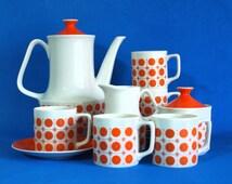 Retro Orange Sunburst Motif Coffee Pot Set - 70s Vintage Porcelain Groovy Starburst Atomic Tea Pot Teapot Set - Made in Japan