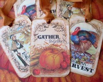 Thanksgiving/Autumn Tags, Vintage Tags, Tags, Gift Tags, Vintage Autumn, Vintage Thanksgiving