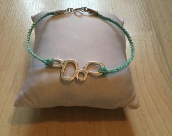 Light Blue Braided Bracelet w/ Silver Charm