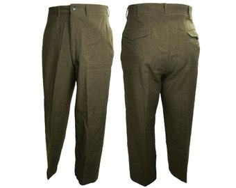 1950s 16oz. Olive Drab Wool Blend Military Trousers 32x29