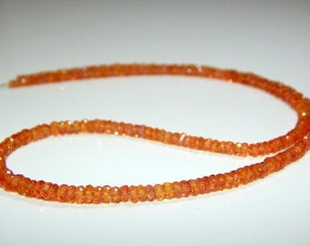 Orange Sapphire Faceted Rondelle Beads 100% Natural Gemstone Size 3.6x2.4 mm Approx Code - 0206