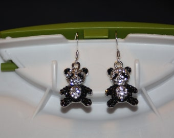 Bling Panda Bear Earrings