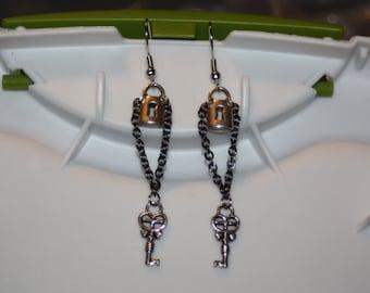Silver Lock & Key Earrings