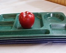 Vintage Divided Cafeteria Tray, Compartment Tray, Divided Plate Set, Retro Lunch Room Tray, Plastique