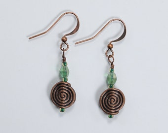 Green & Copper Earrings, Glass and Copper Earrings