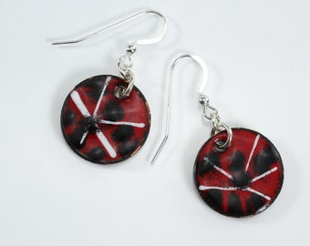 Red Black and White Earrings Silver Filled Metal Enamel Earrings Copper Penny Earrings