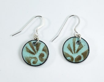 Sterling Silver Copper Penny Earrings Metal Enamel Earrings Icy Blue & Brown Earrings