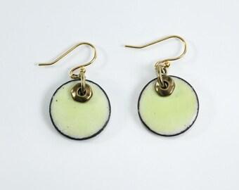 14k Gold Plate Yellow & Gold Copper Penny Earrings Metal Enamel Earrings