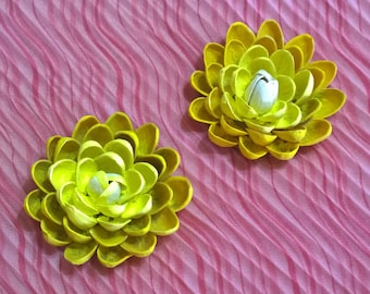 Pistachio Shell Flower Magnets - Set of Two - Yellow