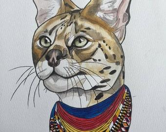 Afri-cat serval A3 watercolour painting