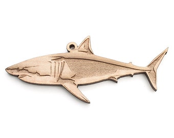 Great White Shark Ornament made from Sustainable American Maple wood by Nestled Pines - Aquatic Collection