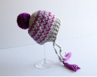 Crochet Baby Hat, Pompom Hat, Zig Zag Hat, Vixen Hat, Bonnet Style Hat, Infant Hat, Newborn Hat, Baby Gift, Photography Prop, Ready to Ship