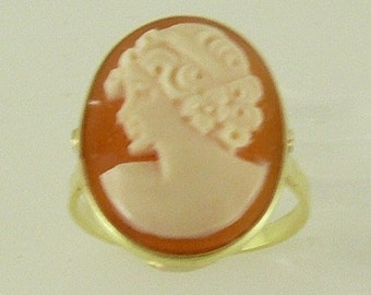 Cameo 19.4 x 15.1 mm Lady Face Ring 14k Yellow Gold