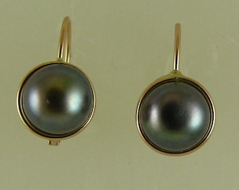 Freshwater Black 7.2 mm Pearl Earrings with 14k Yellow Gold Leverbacks
