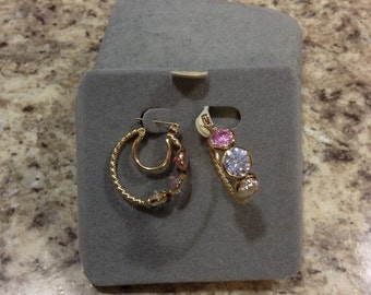 Sale New 14kt gold pierced earrings with three semi precious stones