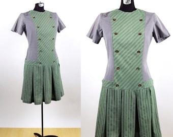 Vintage 1960s Mod Drop Waist Mini Dress / large