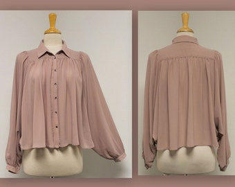 Peasant Blouse with Batwing Cuff sleeves Top in Small Medium Large size.