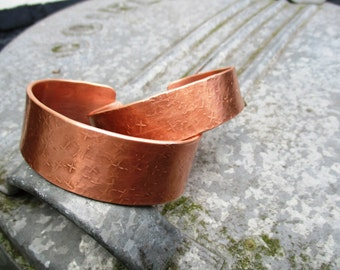 CUSTOM handmade copper BRACELET bangle bracelet with crosses pattern (Unisex: in any desired length)
