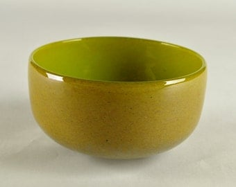 Hand Blown Glass Bowl brown fleck and lime