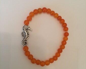 Beaded orange Seahorse bracelet