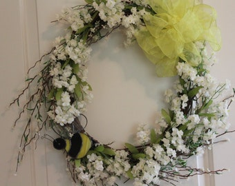 Spring Wreath With Stained Glass Bumble Bee