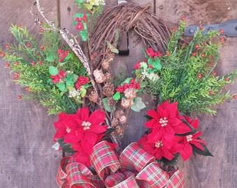 Christmas Wreath,  Holiday Wreath, Affordable Wreath, christmas grapevine wreath, House warming Gift, Christmas Plaid