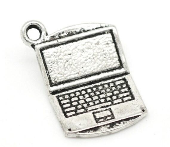 4 Laptop Computer Charms Antique Silver Tone 1u