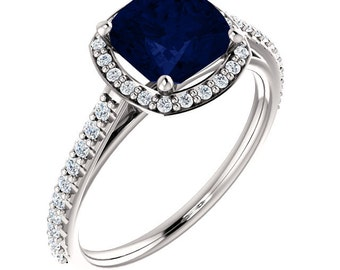Sapphire Engagement Ring, Blue Sapphire Ring, Sapphire and Diamond Ring, Diamond and Sapphire Ring, Diamond and Sapphire Engagement Ring