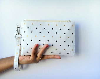 Bridesmaid Gift, Bridesmaid Wristlet, Bridesmaid Clutch in Gold Black Polka